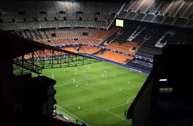 Die Begegnung Valencia-Atalanta (3:4) war ein Geisterspiel.