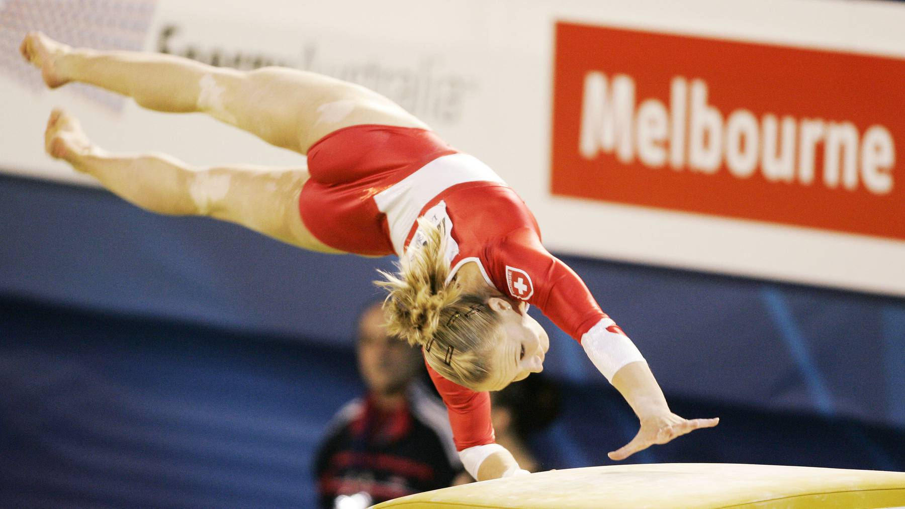 Ariella Kaeslin of Switzerland makes a vault during women's qualifying at the World Gymnastics Championships in Melbourne, Australia, Wednesday, Nov. 23, 2005. There are 275 gymnasts competing in this year's world championships.