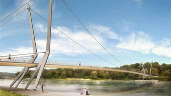 So könnte der neue Rheinsteg in Rheinfelden dereinst aussehen. Archiv/zvg