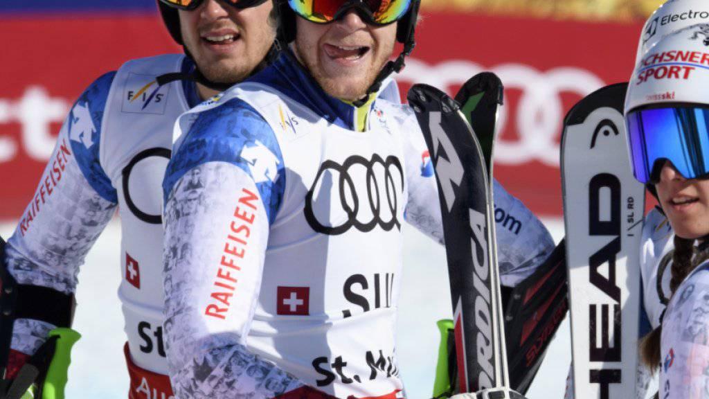 Reto Schmidiger (mit hellblauem Helm) steht in Levi vor seinem Comeback im Weltcup