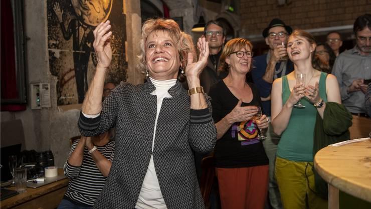 Die neugewählte Spitzenkandidaten Katharina Prelicz-Huber freut sich über die drei Sitzgewinne der Grünen.