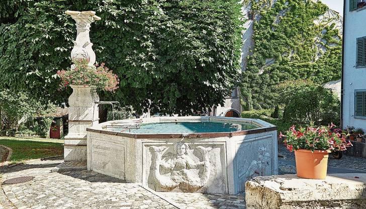 Der älteste Brunnen Kaiserstuhls im Herzen der Stadt: der Widderbrunnen von 1615. Ruth Michel Richter (v. l.) und Ruedi Weiss verfassten die Texte der neuen Broschüre, Konrad Richter machte die Fotos.