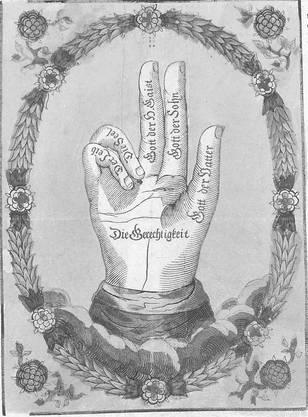 Auf einem Flugblatt aus dem Jahr 1798 wird beschrieben, wofür die einzelnen Finger stehen. Die drei aufgestreckten Finger stehen für die heilige Dreifaltigkeit (Gott der Vater, Gott der Sohn, Gott der Geist), die zwei gebeugten Finger symbolisieren den Leib und die Seele. Die Handfläche steht für die Gerechtigkeit.