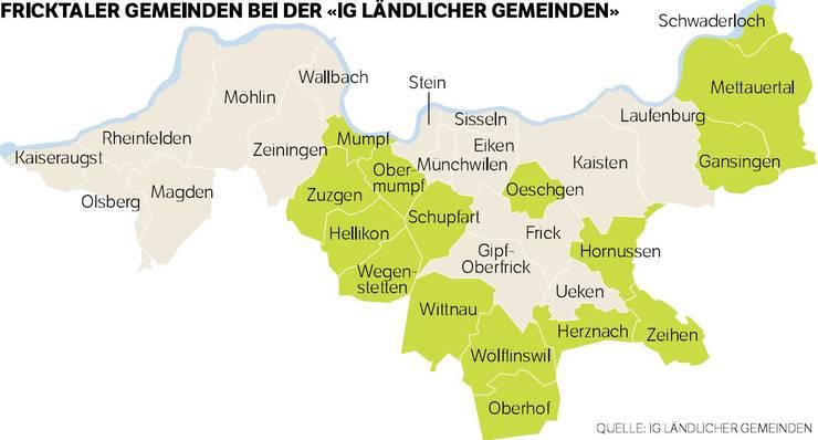 """Stehen zusammen: 16 Gemeinden (grün) sind in der """"IG ländlicher Gemeinden"""" beigetreten."""