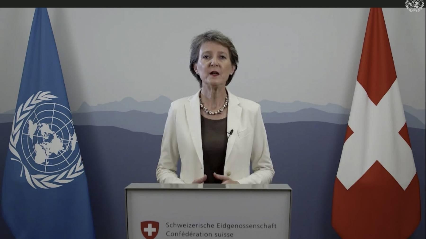 Bundespräsidentin Simonetta Sommaruga wendet sich in einer Videobotschaft an die 75. Generalversammlung der UNO.