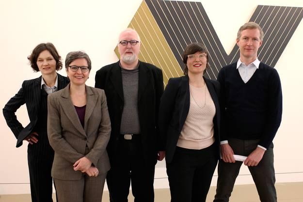 Die versammelten Kuratoren des Kunstmuseums Basel stellten gestern die jeweils von ihnen betreuten Ausstellungen vor. Von links sind das: Ariane Mensger, Anita Haldemann, Bodo Brinkmann, Nina Zimmer (Vize-Direktorin) und Soren Grammel (Direktor Kunstmuseum Basel | Gegenwart).