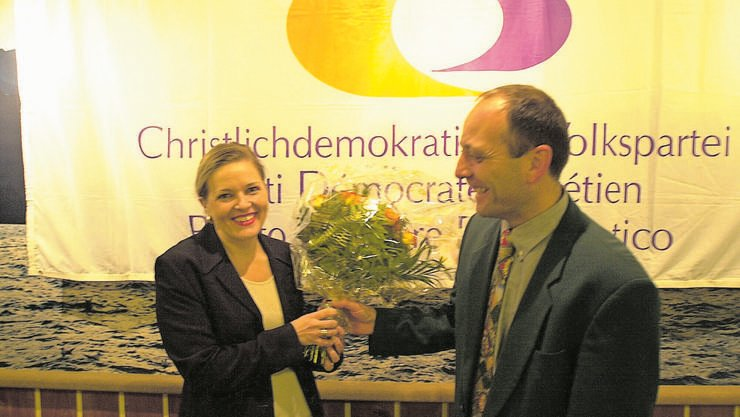 Heidi Z'graggen in Aktion: Bei der Übernahme der Urner CVP-Spitze (2000)...
