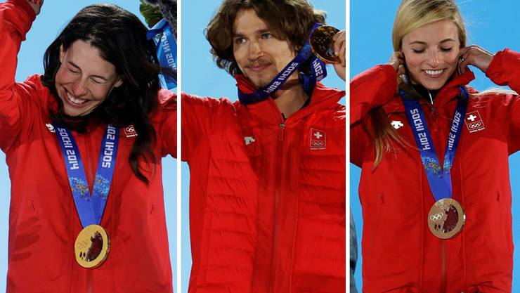 Zweimal Gold, einmal Bronze: Dominique Gisin, Iouri Podladtchikov und Lara Gut (v.l.)