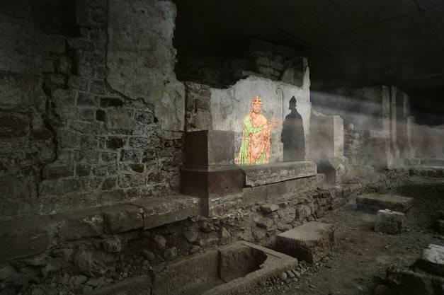Im Film trifft man auf wichtige Figuren der Basler Geschichte: hier wird Bischof Adalbero II. und Kaiser Heinrich II. dargestellt. © Archäologische Bodenforschung BS