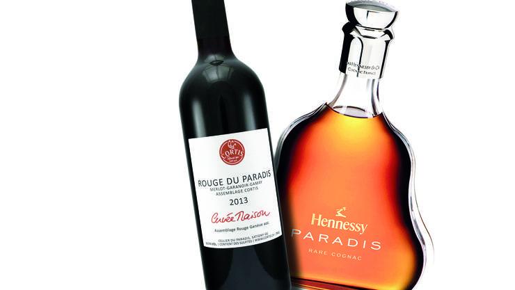 Verwechslungsgefahr!? Cortis Rotwein «Paradis du Rouge» und der «Paradis»-Cognac.