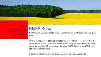 Screenshot der NSDAP-Website. Mittlerweile ist sie offline.