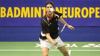 Der Schweizer Christoph Heiniger in seinem Einzel zum Turnierauftakt gegen Slowenien