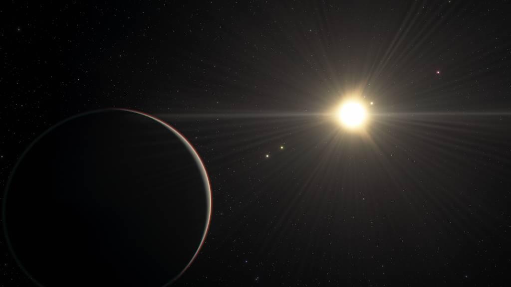 Künstlerische Darstellung des TOI-178-Systems mit dem Planeten im Vordergrund, der am Entferntesten um den Stern kreist: Um den Stern kreisen sechs Planeten, die sich in einem harmonischen Umlaufzeit-Rhythmus befinden. (Pressebild)
