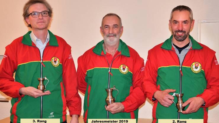 von links nach rechts: 3. Rang Roland Brand  1.  Rang und Jahresmeister 2019 Andy Ort 2. Rang Marcel Zogg