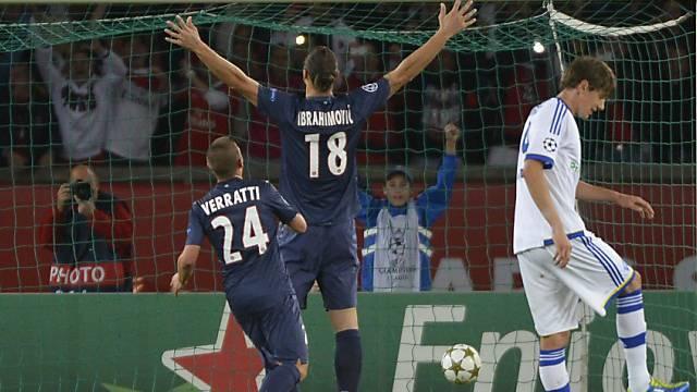 Zlatan Ibrahimovic jubelt über das 1:0 für PSG.