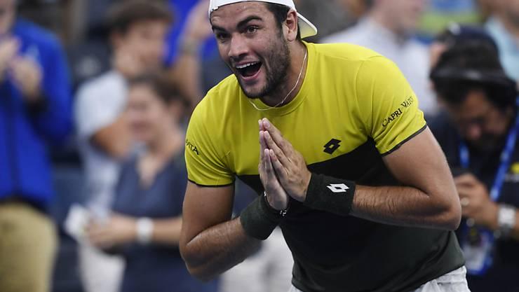 Die Freude über einen seltenen italienischen Triumph in Flushing Meadows: Matteo Berrettini steht in den Viertelfinals des US Open