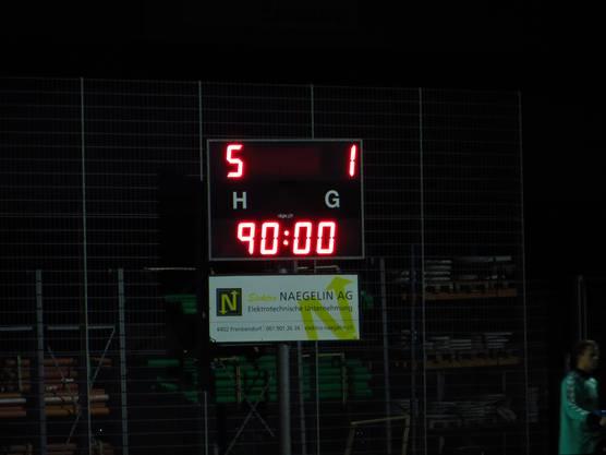 Das Endergebnis   5 : 1  für den FC Frenkendorf gegen den FC Gelterkinden