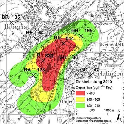 Die Karte zeigt die Fläche, wo der Grenzwert der Zinkbelastung überschritten wird.