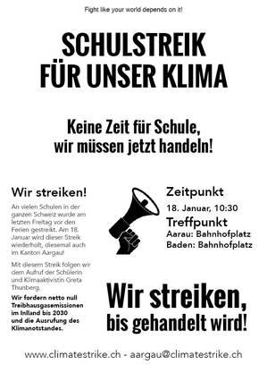 Der Aufruf zum Schülerstreik in Aarau und Baden.