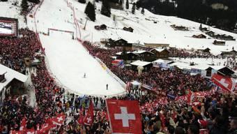 Volle Zuschauertribünen und gute Stimmung an den Skirennen in Adelboden wird es in diesem Winter nicht geben (Archivbild)