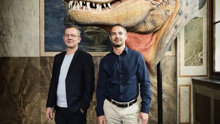 Sind vom Neubauprojekt des Naturhistorischen Museums «hundertprozentig überzeugt»: Die Co-Direktoren David Alder (rechts) und Basil Thüring. R. Schmid