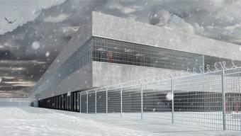 So soll der Neubau der Justizvollzugsanstalt (JVA) Kanton Solothurn nach ihrer Eröffnung Ende 2014 aussehen. Kunst fehlt noch.