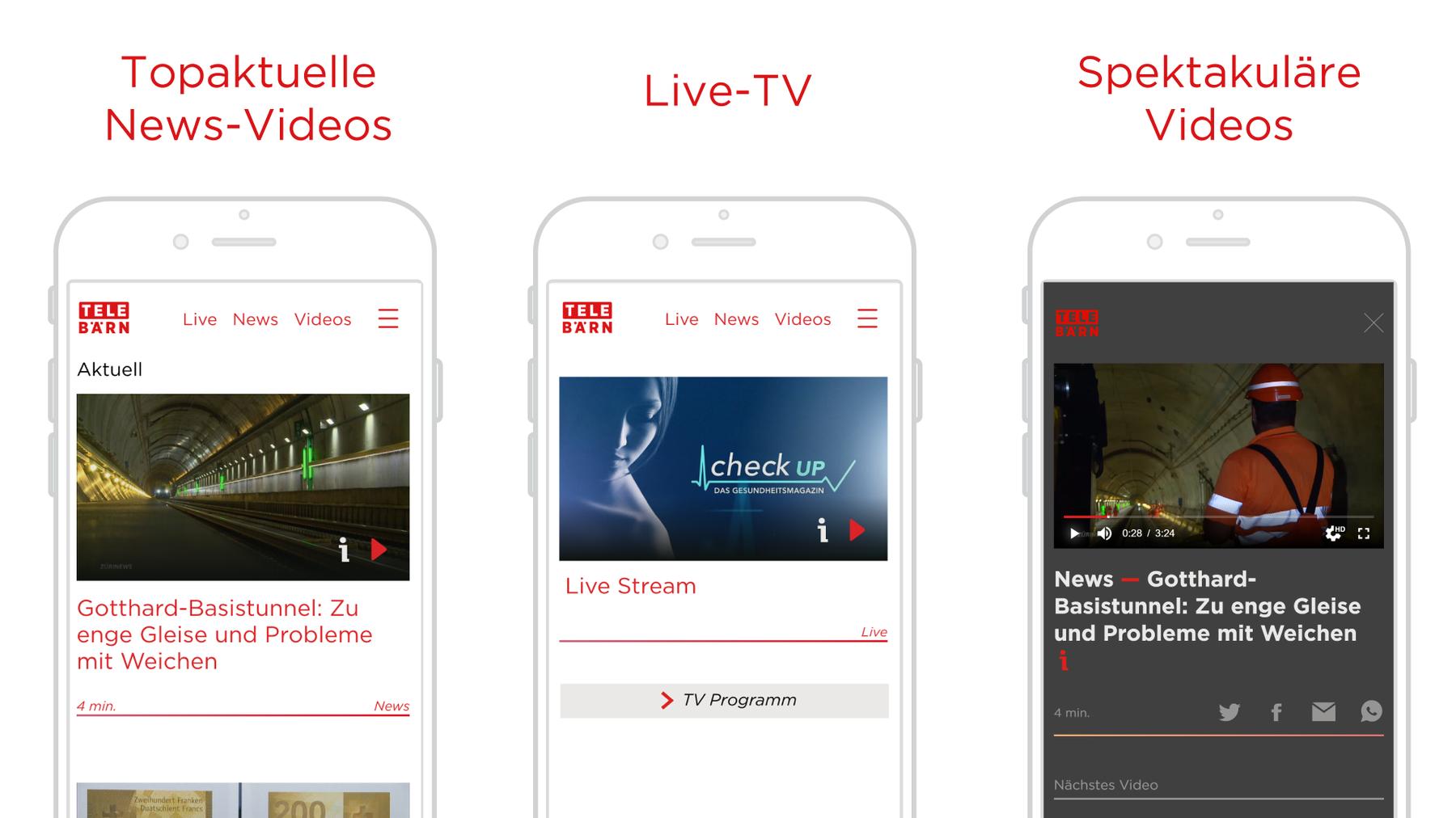 Die TeleBärn App erstrahlt im neuen Design.