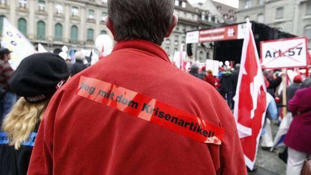 Gewerkschafts-Demo auf dem Bundesplatz in Bern