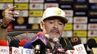 Diego Maradona Mitte September an einer Medienkonferenz im mexikanischen Culiacan