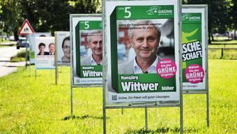 Der Wahlplakatwald im Aarauer Schachen