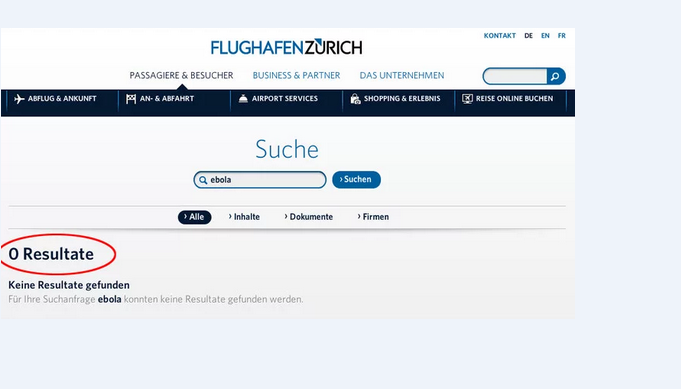 Website Flughafen Zürich