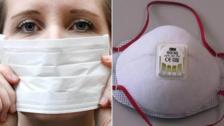 Die einfache Chirurgenmaske (links) und die Atemschutzmaske der Klasse FFP3 (rechts).
