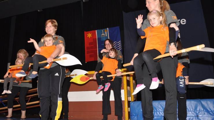 Bei der grossen Geburtstagsparty des OTVG liessen schon die jüngsten Turner des Eltern-Kinderturnens ihr sportliches Talent aufblitzen