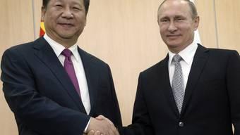 Russlands Präsident Wladimir Putin (rechts) und sein chinesischen Amtskollege Xi Jinping treffen sich anlässlich des BRIC-Gipfels im russischen Ufa