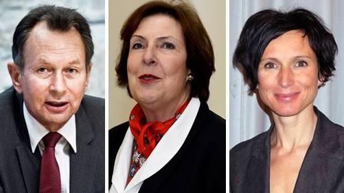 Rechts: Philipp Müller (FDP), Mitte: Christine Egerszegi (FDP), Links: Pascale Bruderer (SP)