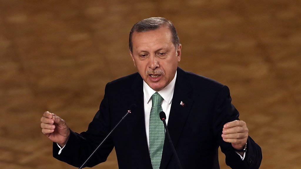 """""""Wer bist du denn"""": Der türkische Präsident Recep Tayyip Erdogan ereifert sich in seiner Rede vor dem Parlament über die Herabstufung seines Landes durch die Ratingagentur Standard & Poor's."""