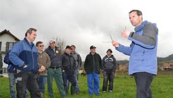 Aus welchen Grasarten besteht gutes Weideland ? Erich Huwiler vom kantonalen Landwirtschaftlichen Zentrum Liebegg (rechts) weiss Rat.Fotos: sl