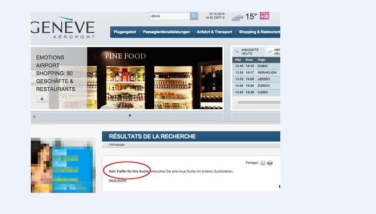 Website Flughafen Genf