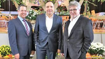 Tobias Gloor, Präsident Gewerbe Kulm; Roger Müller, Gemeindeammann Unterkulm, und Hans Jörg Elsasser, OK-Präsident.