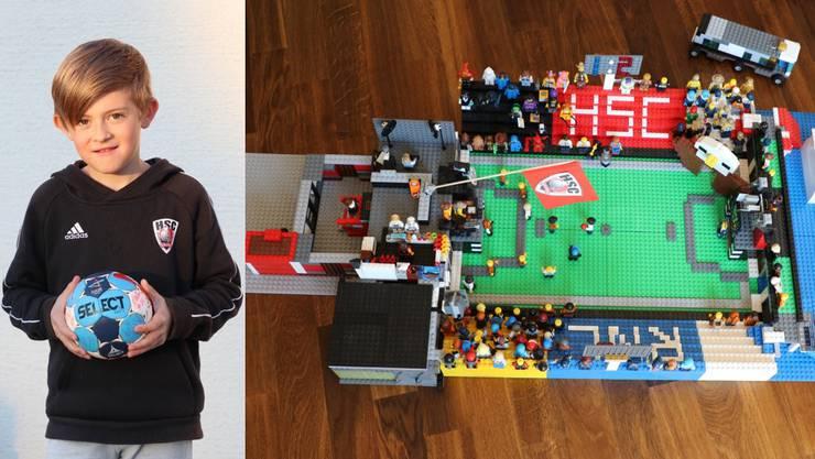 Mit einem Lego-Modell der Schachenhalle: So überbrückt der 9-jährige HSC-Fan Nik die Handball-Flaute