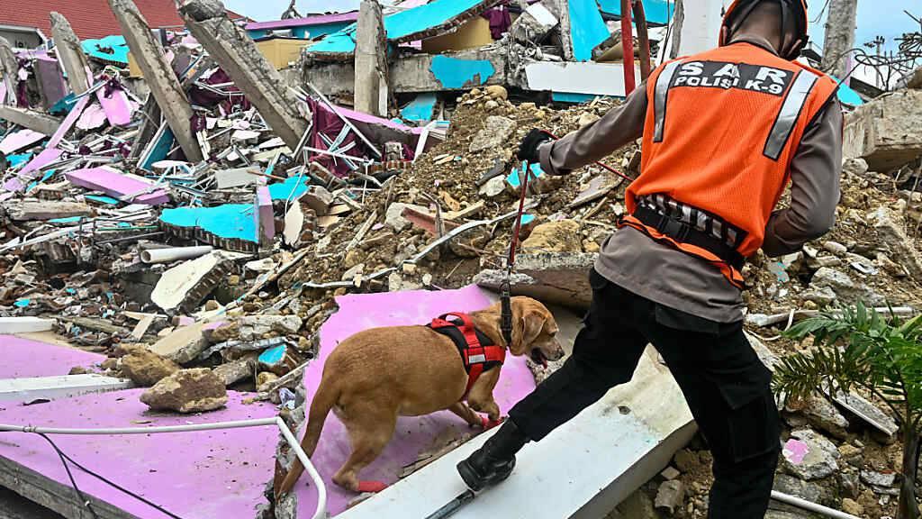 Ein Polizist führt einen Spürhund bei der Suche nach Opfern durch die Trümmer eines eingestürzten Gebäudes in Mamuju. Foto: Hariandi Hafid/ZUMA Wire/dpa