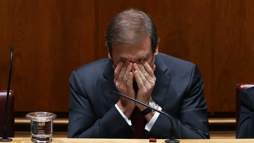 Der portugiesischer Premierminister Pedro Passos Coelho während der heutigen Parlamentsdebatte.