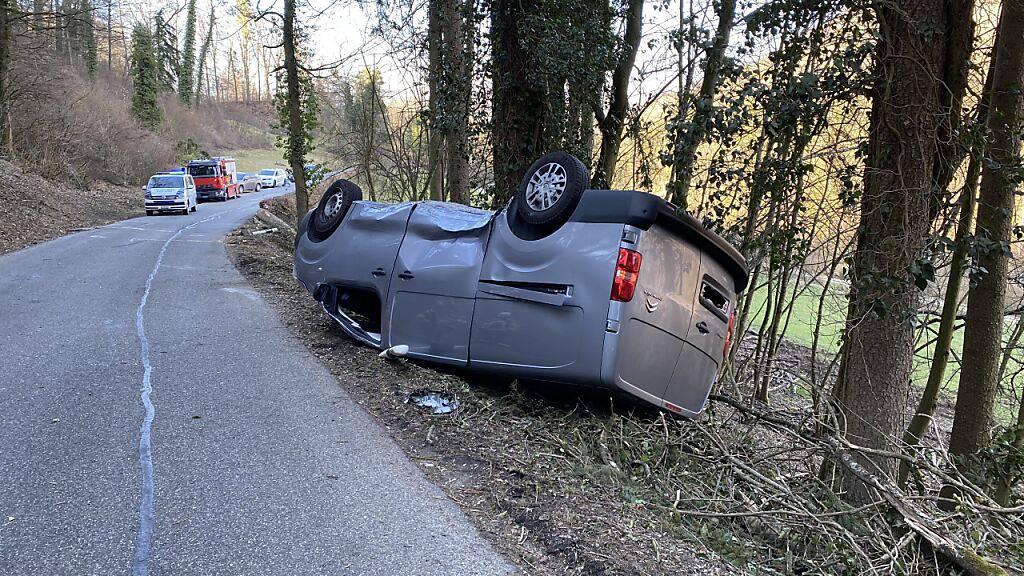 Unglücklicher Zufall: Das vorbeifahrende Auto wurde vom abgerutschten Baum umgekippt.