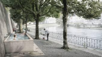 So könnte er aussehen: Der heisse Brunnen am Limmatufer in Ennetbaden.