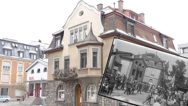 Die Villa Schnebli neben dem «Royal»: 2017 und 1925 – mit dem Festumzug zur Aargauischen Gewebeausstellung.