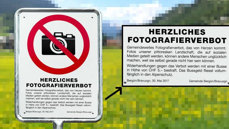 Das Foto-Verbot in Bergün in Graubünden irritiert und verärgert - nun hat die Gemeinde entschieden, es rückgängig zu machen.