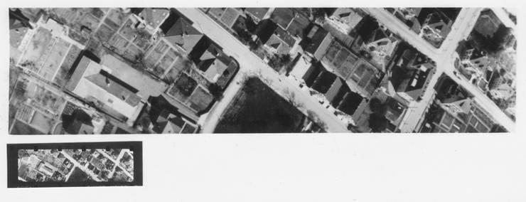 Diese Aufnahme wurde um 1935 von einer Brieftaube mit der Michel-Kamera gemacht. Welche Ortschaft das Foto zeigt, ist nicht bekannt. Pro Flug konnten die Kameras bis zu 15 Bilder in Zeitabständen von          15 Sekunde