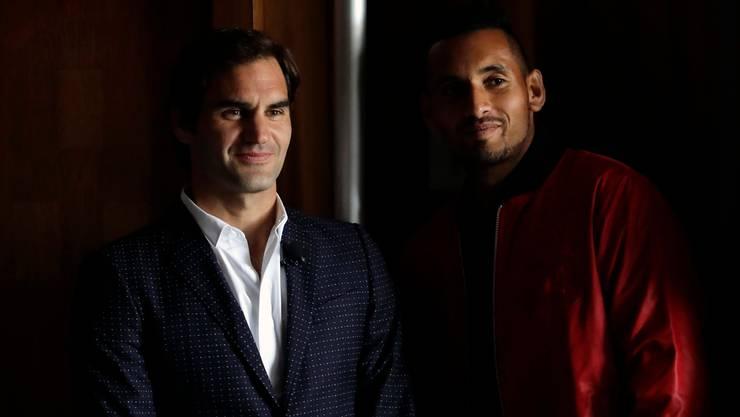Roger Federer und Nick Kyrgios beim Laver Cup 2018 (Bild: Keystone).