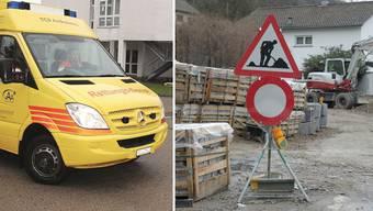 Die Flüestrasse wird saniert. Deshalb gibt es zurzeit auch für die Rettungssanitäter kein Durchkommen.