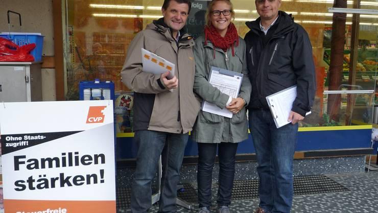 Die Grossratskandidaten Alfons P. Kaufmann, Miriam Leimgruber und Patrick Burgherr